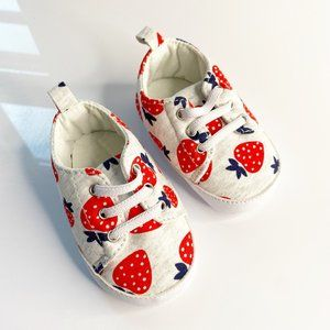 Strawberry Print Lace Up Bootie Shoes Red White